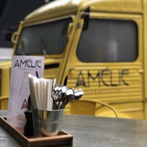 Amelie Yellow van with cutlery pots