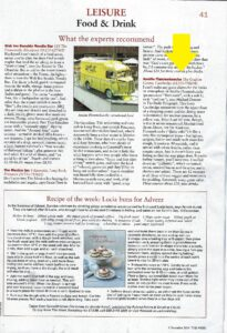 Article in the Week Magazine for Amelie Restaurant