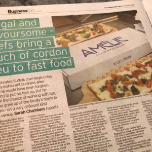 Article in the Business East Monthly in the East Anglian Daily Times featuring Amelie Restaurant in Cambridge, Title is frugal and flavoursome flam-kuche