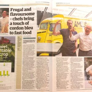 Article in the EADT featuring Amelie Restaurant in Cambridge with pictures of Regis and Alex Crepy