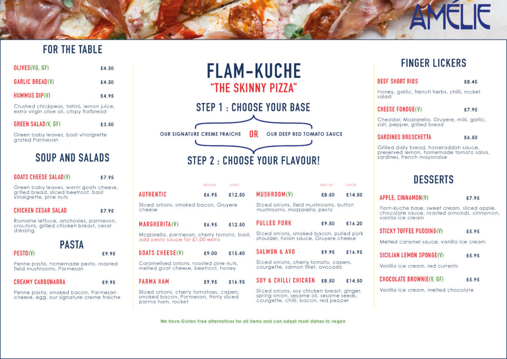Take away Menu at Amelie Restaurant and local deliveries