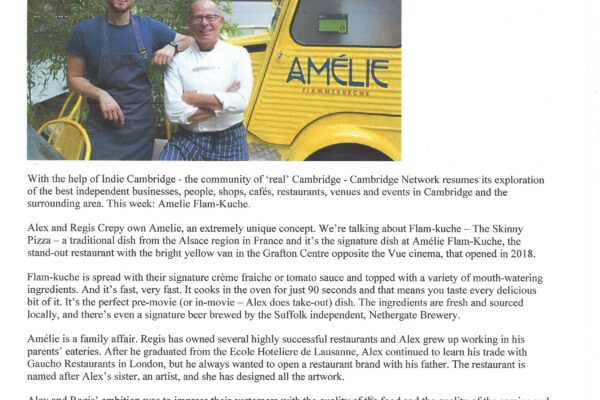 article in the Cambridge Network and indie Magazine