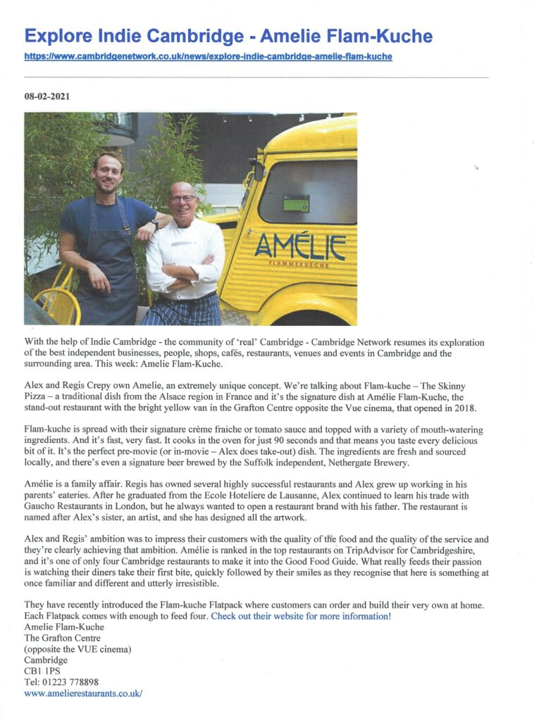 article in the Cambridge Network web site through Indie Cambridge featuring Amelie Restaurant and their Flackpacks ready for nationwide deliveries
