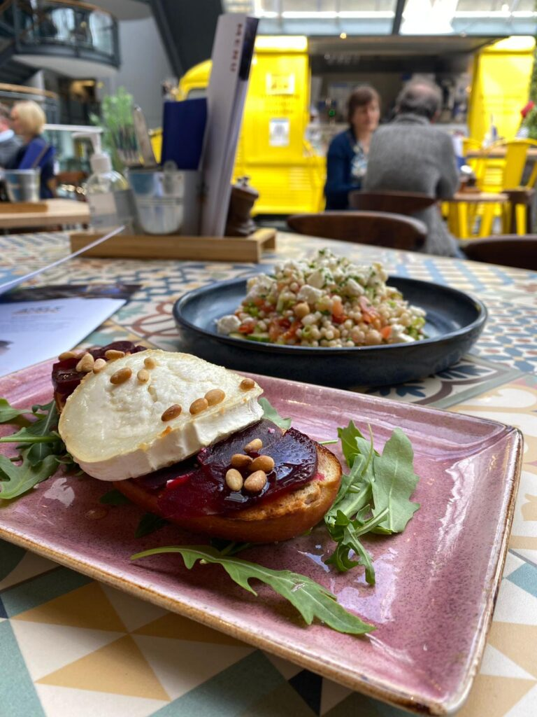 Goat cheese beetroot salad and giant couscous salad