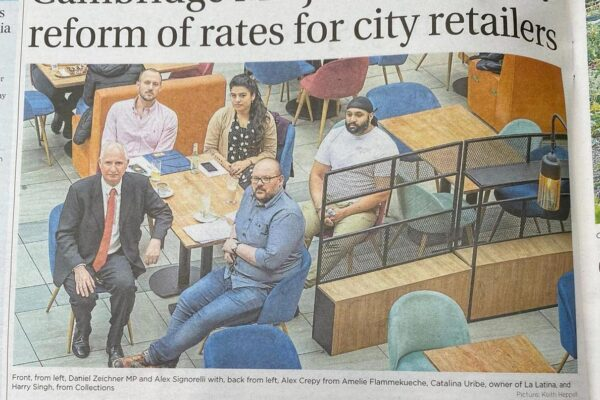Newspaper article MP joins call for a reform of rates for city retailers