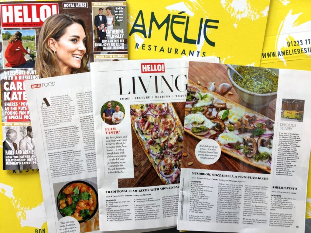 three page article in Hello! Magazine about Amelie Restaurants