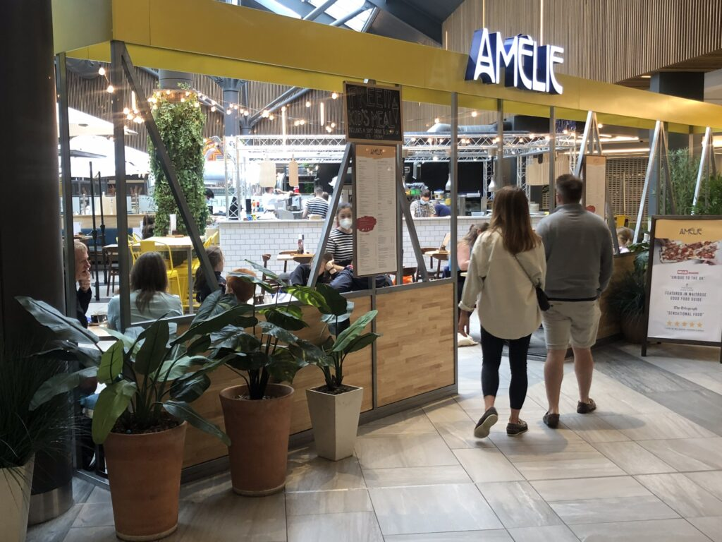 New decor with new entrance at Amelie Restaurant in Cambridge
