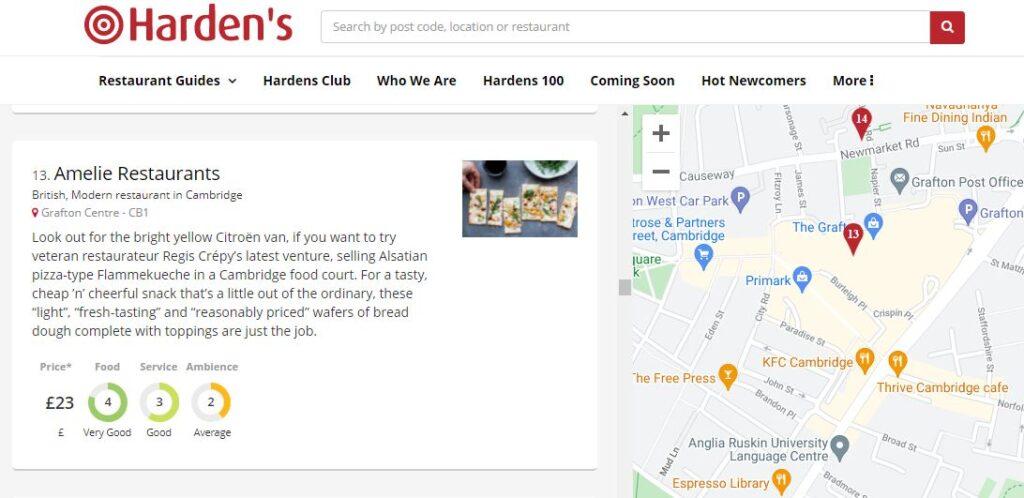 Entry in the Harden's Restaurant Guide for Amelie Restaurant in Cambridge.
