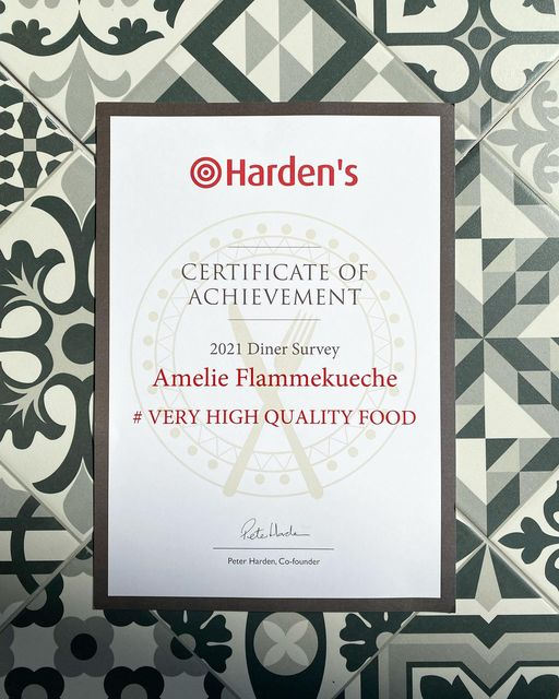 Certificate of Achievement from Harden's Restaurant Guide 2021